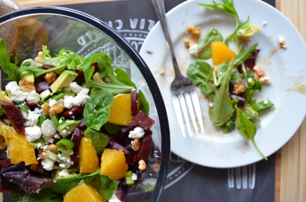 Beet-Orange-Avocado Salad with Balsamic-Dijon Vinaigrette