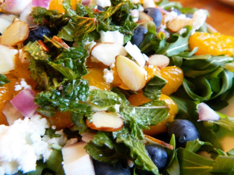 Blueberry Arugula Salad with Orange-Mint Dressing