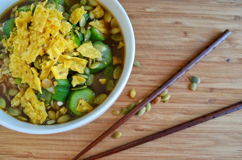 Ramen with okra and pumpkin seeds