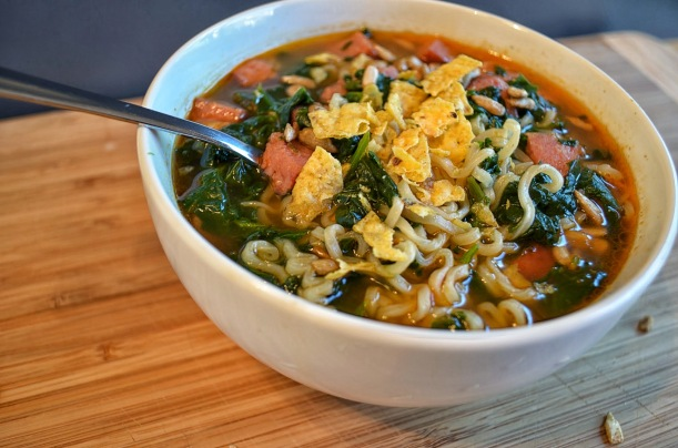 Ramen with Spinach, Sausage, and Sunflower Seeds